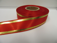 Red with Metallic Gold Tramlines Satin Ribbon  2 or 20 metres 25mm 38mm Roll